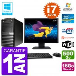 "PC Acer Veriton M4630G MT Ecran 27"" i7-4770 RAM 16Go Disque 500Go DVD Wifi W7"