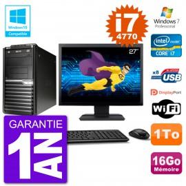 "PC Acer Veriton M4630G MT Ecran 27"" i7-4770 RAM 16Go Disque 1To DVD Wifi W7"