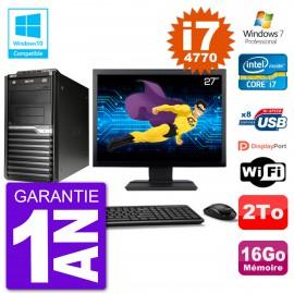 "PC Acer Veriton M4630G MT Ecran 27"" i7-4770 RAM 16Go Disque 2To DVD Wifi W7"