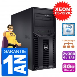 Serveur DELL PowerEdge T110 II Xeon QuadCore E3-1220 8Go 2x300Go Perc H200 SAS