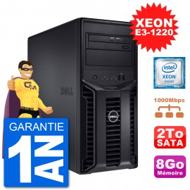 Serveur DELL PowerEdge T110 II Xeon QuadCore E3-1220 8Go 2To Perc H200 SATA