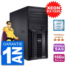 Serveur DELL PowerEdge T110 II Xeon QuadCore E3-1220 16Go 300Go Perc H200 SAS