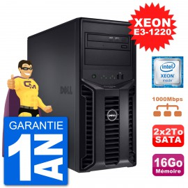 Serveur DELL PowerEdge T110 II Xeon QuadCore E3-1220 16Go 2x2To Perc H200 SATA