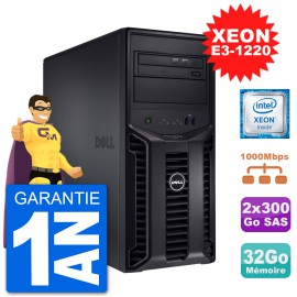 Serveur DELL PowerEdge T110 II Xeon QuadCore E3-1220 32Go 2x300Go Perc H200 SAS