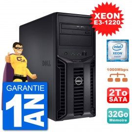 Serveur DELL PowerEdge T110 II Xeon QuadCore E3-1220 32Go 2To Perc H200 SATA