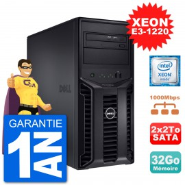 Serveur DELL PowerEdge T110 II Xeon QuadCore E3-1220 32Go 2x2To Perc H200 SATA