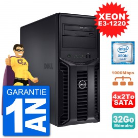 Serveur DELL PowerEdge T110 II Xeon QuadCore E3-1220 32Go 4x2To Perc H200 SATA