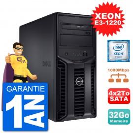 Serveur DELL PowerEdge T110 II Xeon QuadCore E3-1220 32Go 4x2To Perc H200 SATA