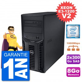 Serveur DELL PowerEdge T110 II Xeon QuadCore E3-1220 V2 8Go 2x300Go Perc H200 SAS