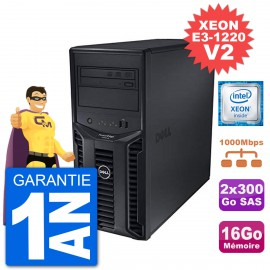 Serveur DELL PowerEdge T110 II Xeon QuadCore E3-1220 V2 16Go 2x300Go Perc H200 SAS
