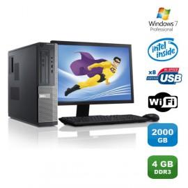 Lot PC DELL Optiplex 3010 DT G640 2.8Ghz 4Go 2To Graveur WIFI W7 Pro +Ecran 19
