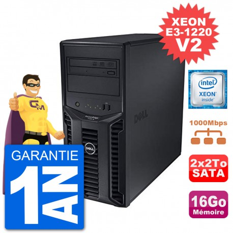 Serveur DELL PowerEdge T110 II Xeon QuadCore E3-1220 V2 16Go 2x2To Perc H200 SATA