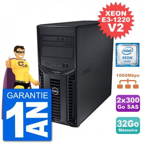 Serveur DELL PowerEdge T110 II Xeon QuadCore E3-1220 V2 32Go 2x300Go Perc H200 SAS