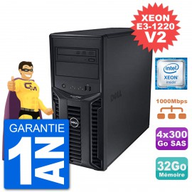Serveur DELL PowerEdge T110 II Xeon QuadCore E3-1220 V2 32Go 4x300Go Perc H200 SAS