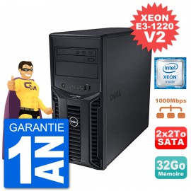Serveur DELL PowerEdge T110 II Xeon QuadCore E3-1220 V2 32Go 2x2To Perc H200 SATA