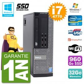PC Dell 9020 SFF Intel i7-4770 RAM 32Go SSD 960Go Graveur DVD Wifi W7