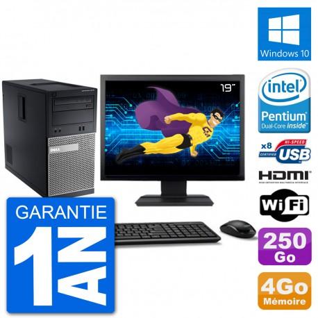 """PC Dell 3010 MT Ecran 19"""" G2020 RAM 4Go Disque Dur 250Go HDMI Windows 10 Wifi"""