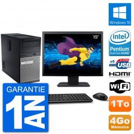 """PC Dell 3010 MT Ecran 19"""" G2020 RAM 4Go Disque Dur 1To HDMI Windows 10 Wifi"""