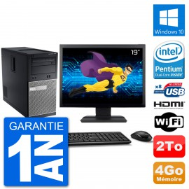 "PC Dell 3010 MT Ecran 19"" G2020 RAM 4Go Disque Dur 2To HDMI Windows 10 Wifi"