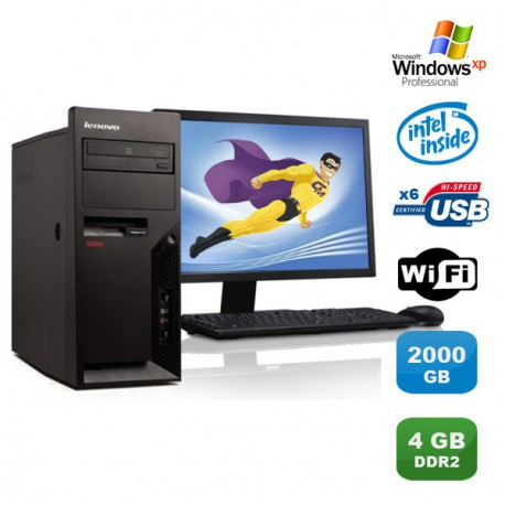 "Lot PC IBM Lenovo M55E 9389-CTO Pentium D 3Ghz 4Go 2To WIFI XP Pro + Ecran 19"""