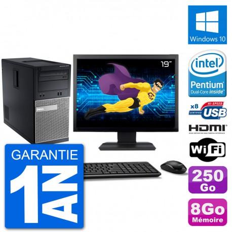 """PC Dell 3010 MT Ecran 19"""" G2020 RAM 8Go Disque Dur 250Go HDMI Windows 10 Wifi"""
