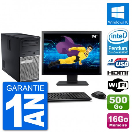 "PC Dell 3010 MT Ecran 19"" G2020 RAM 16Go Disque Dur 500Go HDMI Windows 10 Wifi"