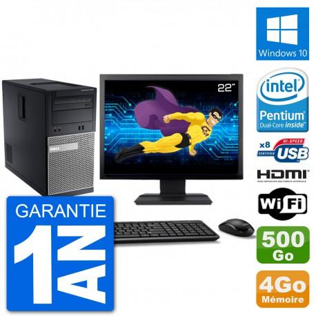 """PC Dell 3010 MT Ecran 22"""" G2020 RAM 4Go Disque Dur 500Go HDMI Windows 10 Wifi"""