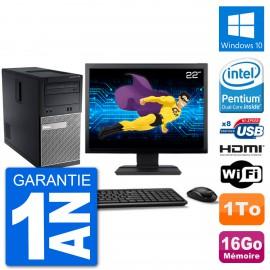"""PC Dell 3010 MT Ecran 22"""" G2020 RAM 16Go Disque Dur 1To HDMI Windows 10 Wifi"""
