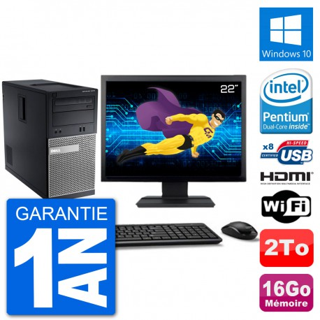 "PC Dell 3010 MT Ecran 22"" G2020 RAM 16Go Disque Dur 2To HDMI Windows 10 Wifi"