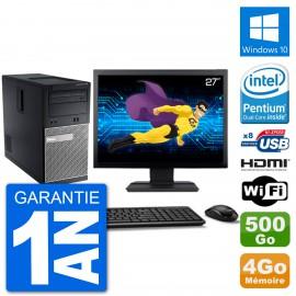 """PC Dell 3010 MT Ecran 27"""" G2020 RAM 4Go Disque Dur 500Go HDMI Windows 10 Wifi"""