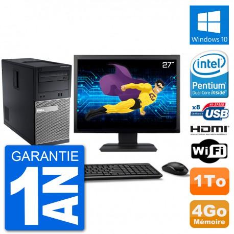"""PC Dell 3010 MT Ecran 27"""" G2020 RAM 4Go Disque Dur 1To HDMI Windows 10 Wifi"""