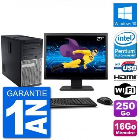 """PC Dell 3010 MT Ecran 27"""" G2020 RAM 16Go Disque Dur 250Go HDMI Windows 10 Wifi"""