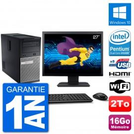 """PC Dell 3010 MT Ecran 27"""" G2020 RAM 16Go Disque Dur 2To HDMI Windows 10 Wifi"""