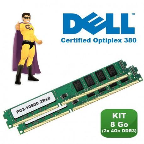 KIT RAM 8Go (2x 4Go) DDR3 PC3-10600 Mémoire Certifiée DELL Optiplex 380 NEUF