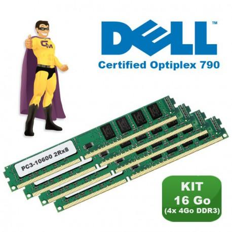 KIT RAM 16Go (4x 4Go) DDR3 PC3-10600 Mémoire Certifiée DELL Optiplex 790 NEUF
