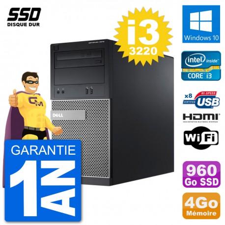 PC Dell 3010 MT i3-3220 RAM 4Go SSD 960Go HDMI Windows 10 Wifi