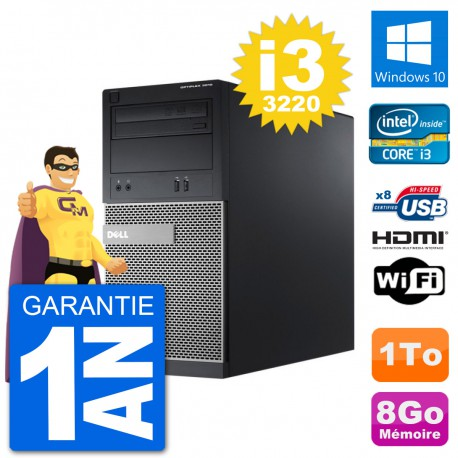 PC Dell 3010 MT i3-3220 RAM 8Go Disque Dur 1To HDMI Windows 10 Wifi
