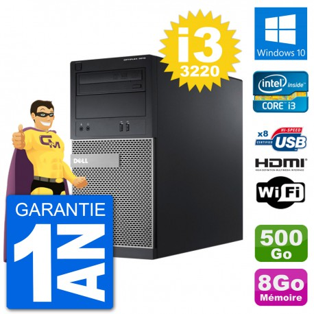 PC Dell 3010 MT i3-3220 RAM 8Go Disque Dur 500Go HDMI Windows 10 Wifi