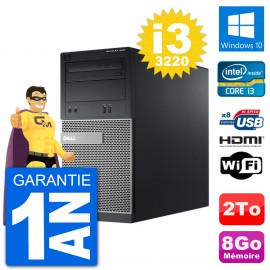 PC Dell 3010 MT i3-3220 RAM 8Go Disque Dur 2To HDMI Windows 10 Wifi