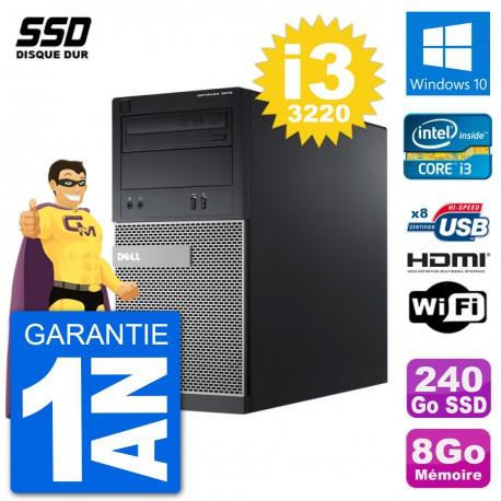 PC Dell 3010 MT i3-3220 RAM 8Go SSD 240Go HDMI Windows 10 Wifi