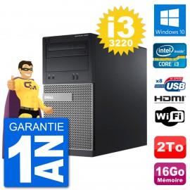 PC Dell 3010 MT i3-3220 RAM 16Go Disque Dur 2To HDMI Windows 10 Wifi