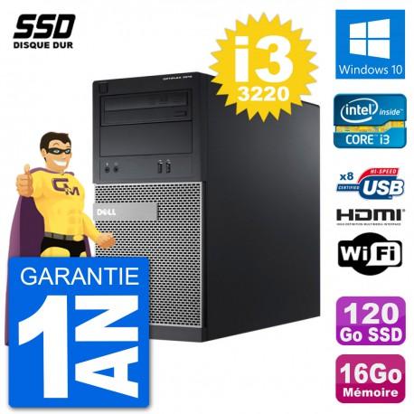 PC Dell 3010 MT i3-3220 RAM 16Go SSD 120Go HDMI Windows 10 Wifi