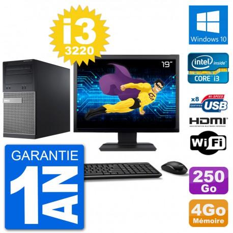 """PC Dell 3010 MT Ecran 19"""" i3-3220 RAM 4Go Disque Dur 250Go HDMI Windows 10 Wifi"""