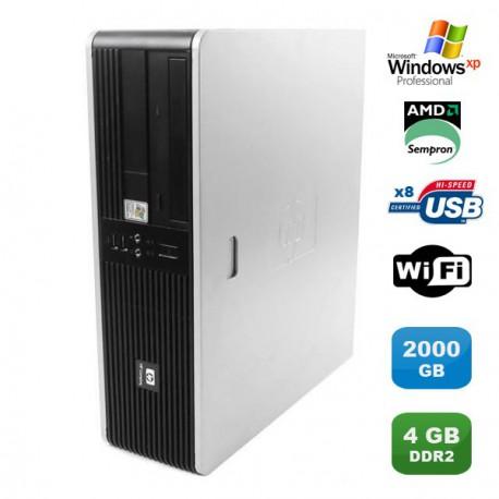 PC HP Compaq DC5750 SFF AMD Sempron 2GHz 4Go DDR2 2000Go Wifi Windows XP Pro
