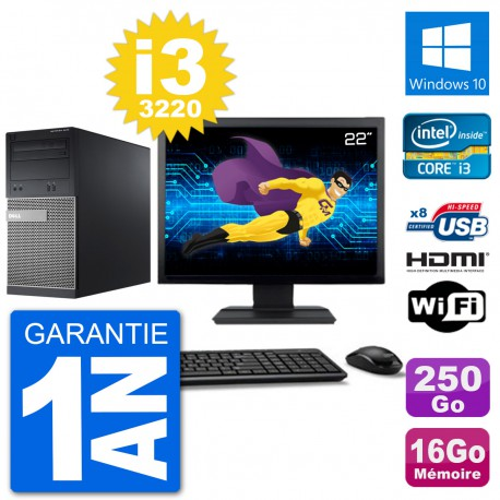 """PC Dell 3010 MT Ecran 22"""" i3-3220 RAM 16Go Disque Dur 250Go HDMI Windows 10 Wifi"""