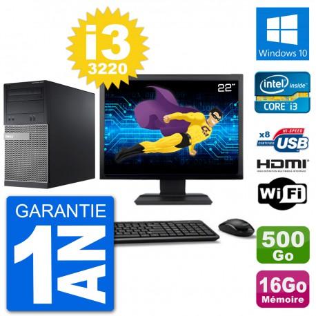 """PC Dell 3010 MT Ecran 22"""" i3-3220 RAM 16Go Disque Dur 500Go HDMI Windows 10 Wifi"""