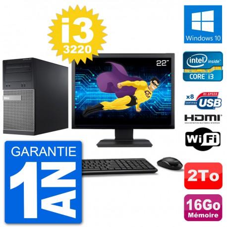 """PC Dell 3010 MT Ecran 22"""" i3-3220 RAM 16Go Disque Dur 2To HDMI Windows 10 Wifi"""