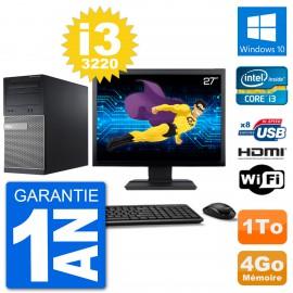 """PC Dell 3010 MT Ecran 27"""" i3-3220 RAM 4Go Disque Dur 1To HDMI Windows 10 Wifi"""