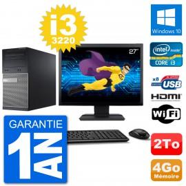 """PC Dell 3010 MT Ecran 27"""" i3-3220 RAM 4Go Disque Dur 2To HDMI Windows 10 Wifi"""