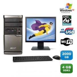 Lot PC ACER M420 Athlon X2 4850B 2.5Ghz 4Go 2000Go Graveur WIFI XP Pro +Ecran 19